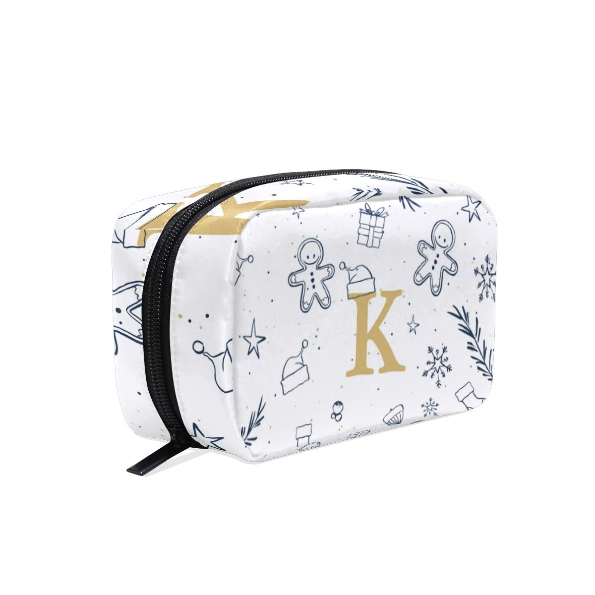 Makeup Pouch with Xmas Letter K Initial Monogram Print- Cosmetic Bags Toiletry Case for Women