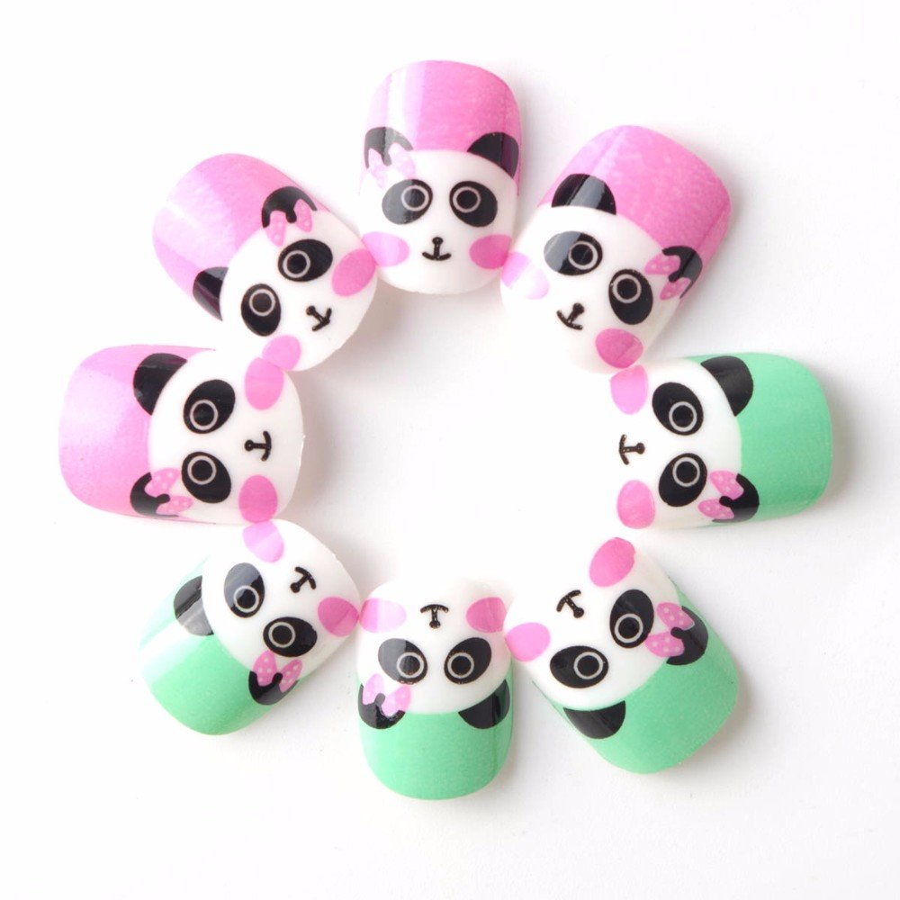 Panda Children Fake Nails Press on 20 Pcs Green and Pink Pre-glue False Nail Tips for Little Girls KitD patch for Finger LIARTY