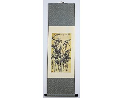 Amazon com: Chinese Scroll Painting on Silk - Bamboo Trees