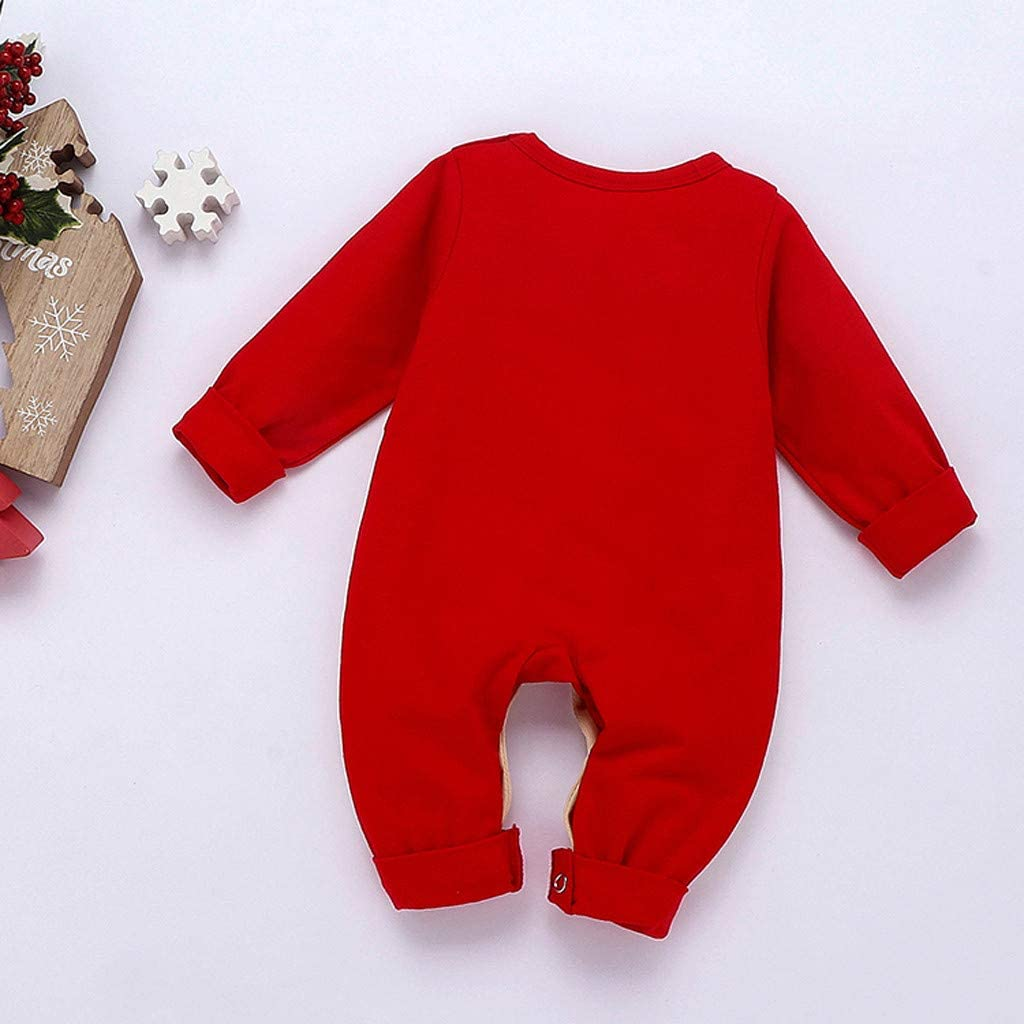 MEOILCE Christmas Outfit Toddler Baby Girls Boys Christmas Romper Jumpsuit Long Sleeve Xmas Pajamas Homewear 0-18M