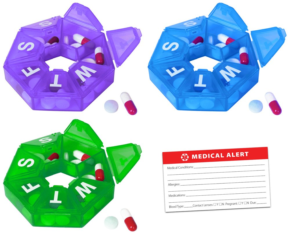 Weekly 7-Sided Pill Planner - 3 Pack 1 of each Blue, Green & Purple with Bonus Medical Alert Information Card (Small, Blue, Green & Purple)