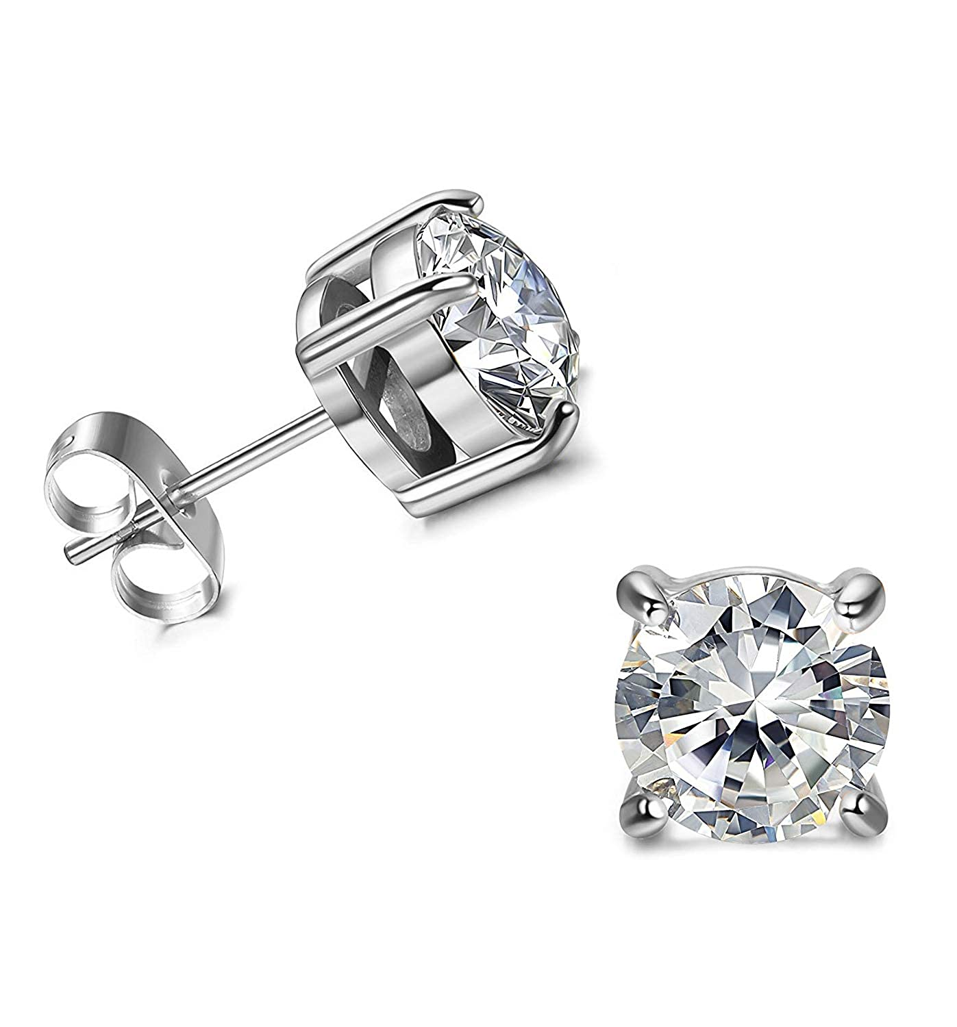 D//VVS1 Round Cut Diamond Fancy Party Wear Solitaire Stud Earrings 18K White Gold Over .925 Sterling Silver For Womens /& Girls 3MM TO 10MM