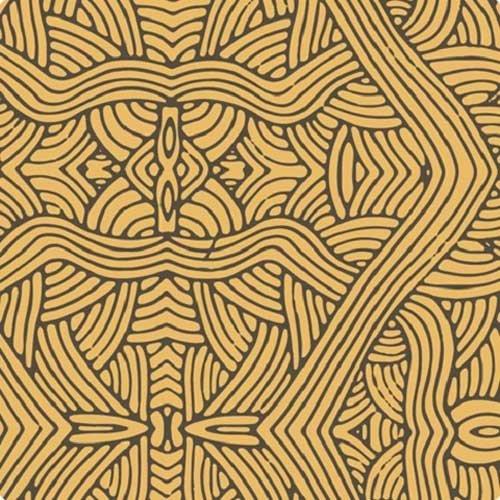 Australian Aboriginal fabric, Untitled Gold by Nambooka (Sarasota Fabric)
