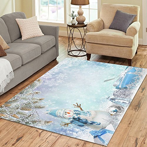 InterestPrint Christmas Snowflake Snowman Area Rug Cover Carpets Large 7 x 5 Feet, Christmas Tree Gifts Snow Modern Area Floor Rugs Mat Cover for Home Living Dining Room Decoration