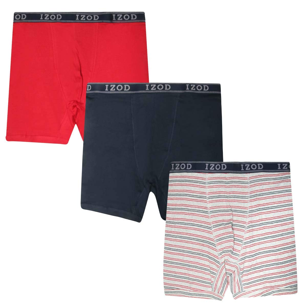 99a15bae8920 IZOD Men\'s Big & Tall Boxer Briefs Underwear, 3-Pack, Stripe, Size 2X'