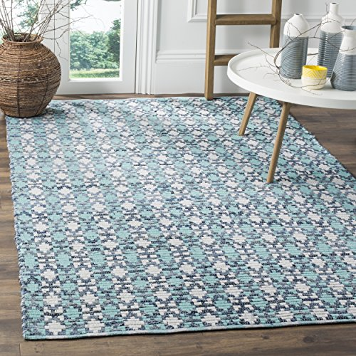 Safavieh Montauk Collection MTK123C Handmade Flatweave Turquoise and Multi Cotton Area Rug 5 x 8