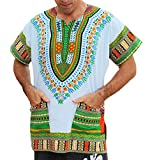 RaanPahMuang Brand Unisex Bright African White Dashiki Cotton Shirt #72 Light Green X-Small