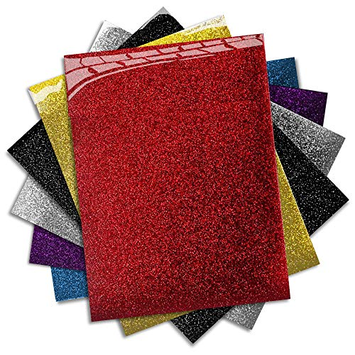 (MiPremium Glitter Heat Transfer Vinyl - Iron On Vinyl Sheets of 6 Most Popular Colors, Assorted HTV Glitter Starter Bundle for T Shirts Clothing Fabrics, Easy to Cut, Press & Weed Vinyl (Multicolor))