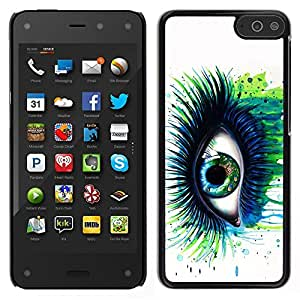 Impact Case Cover with Art Pattern Designs FOR Amazon Fire Phone Green Blue Eye Lashes Painting Watercolor Art Betty shop