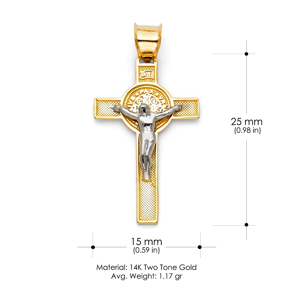 14K Two Tone Gold Jesus Crucifix Cross Pendant with 2mm Figaro 3+1 Chain Chain Necklace