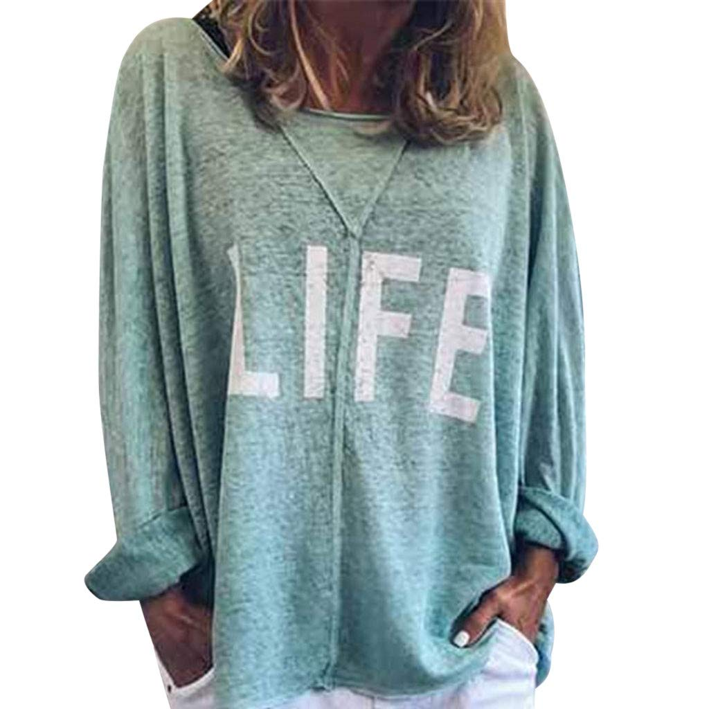 ✔ Hypothesis_X ☎ Women's Casual Round Neck Letter Print T-Shirt Top Long Sleeve Tops Blouse Green by ✔ Hypothesis_X ☎ Top