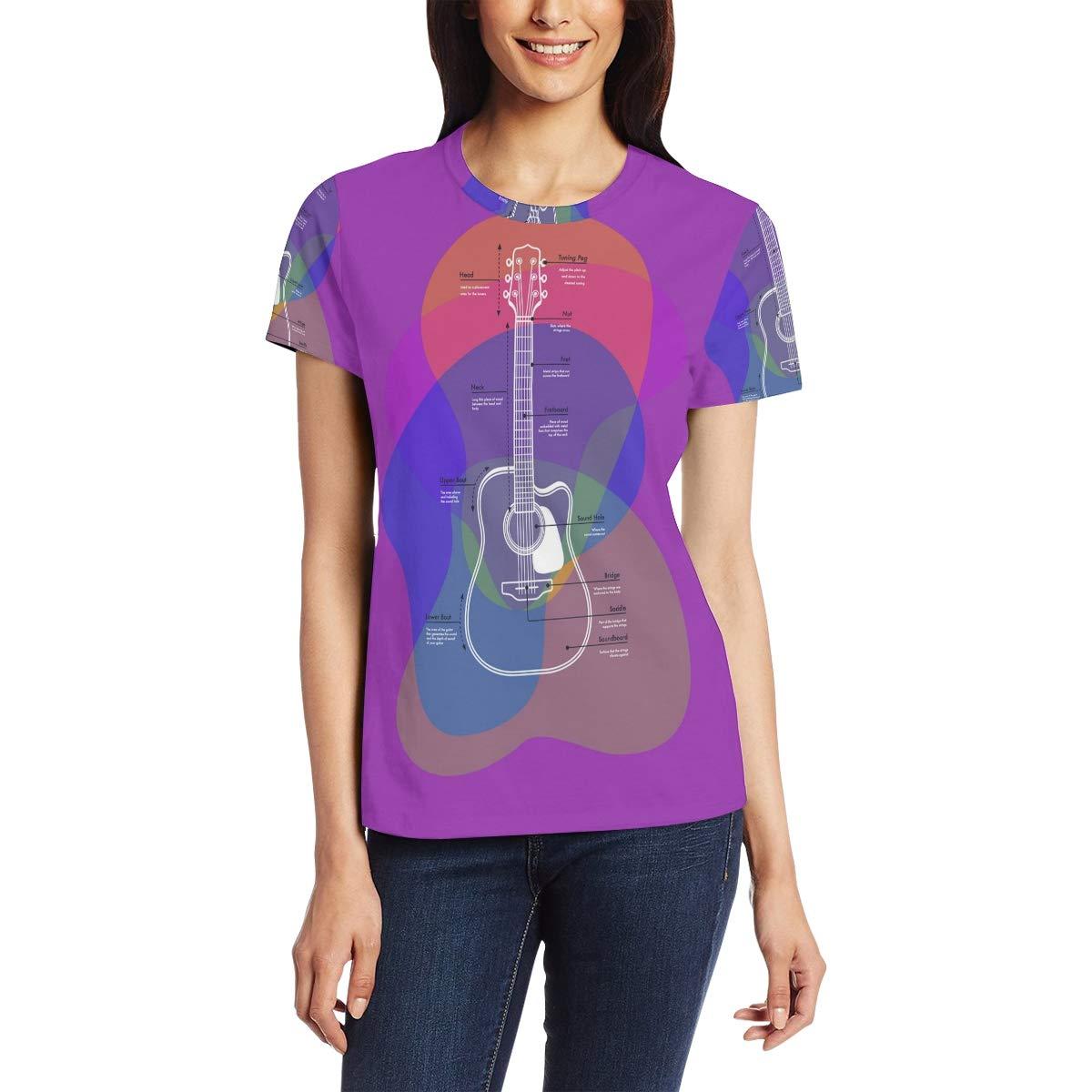 Camiseta de Manga Corta para Mujer, diseño de Guitarra Morada, Cuello Redondo, cómoda Bm002 S: Amazon.es: Ropa y accesorios