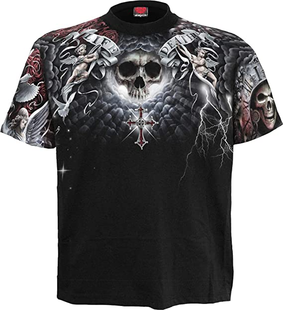 Spiral Life And Death Cross T-Shirt Nero