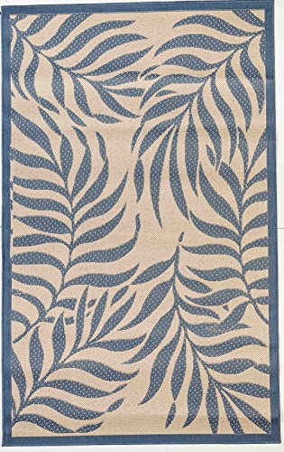 """Cheap Outdoor Mats Flatweave Indoor Outdoor Rugs with Contemporary Tropical Design Area Rugs Patio Rug Flooring Carpets 9×12 (8'10""""x11'9"""", Blue)"""