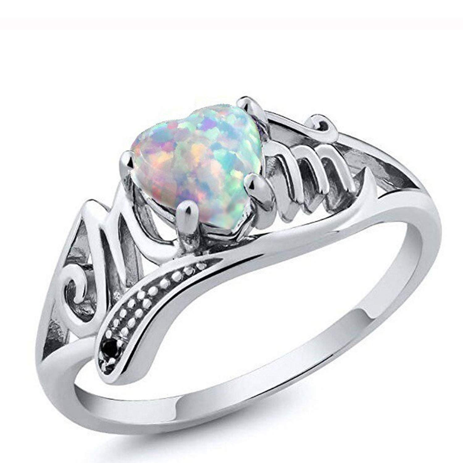 HUAMING Mom Colorful Heart Ring Love Mum Diamond Ring Jewelry Luxury Best Gift for Mother Party Wedding Beauty Band Rings (Multicolor, 5)
