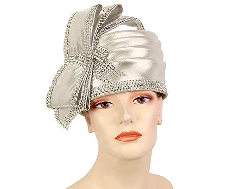 2a34fe8ae994a Ms Divine Women s Metallic Pillbox Church Hats Dress Formal Hats  L06 ( Silver)