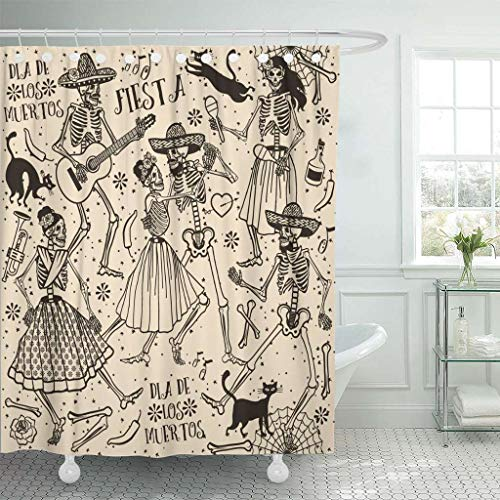 Emvency Fabric Shower Curtain with Hooks Red Halloween with Skeletons Dia De Los Muertos The Dance Day Dead Mexican Spanish Cat 72