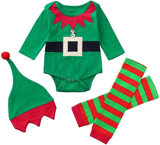 Bebe Navidad Disfraz Duende Ropa Conjunto Recién Nacido Niña Niño ...