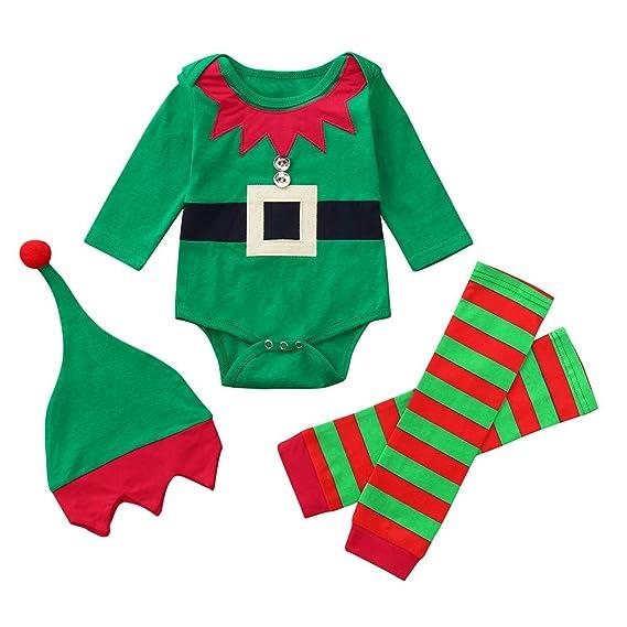 Bebe Navidad Disfraz Duende Ropa Conjunto Recién Nacido Niña Niño Bodies Tops + Gorra + Calcetines: Amazon.es: Ropa y accesorios
