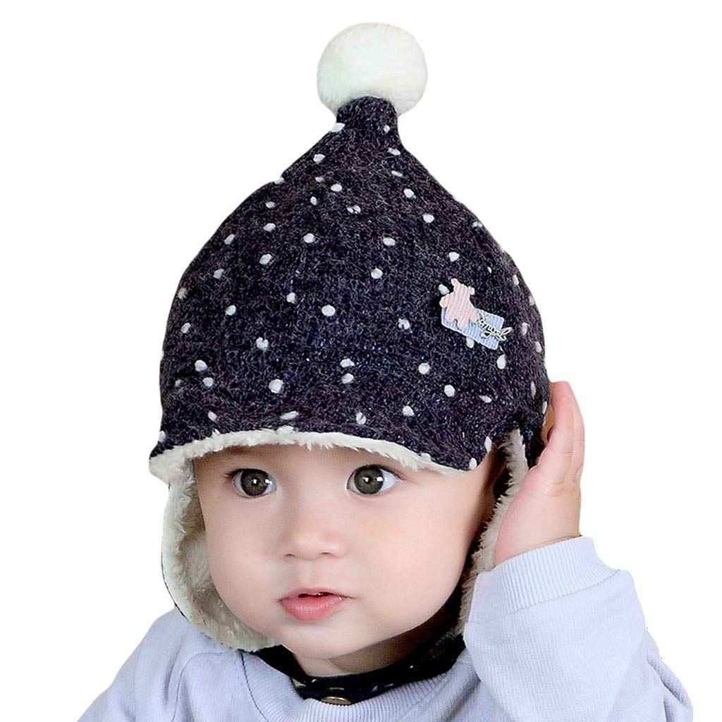 9e9200d371b Hats   Caps Amyline Cute Kids Toddler Girls Baby Winter Big Fluffy Ball  Braid Beanie Warm Knitted ...