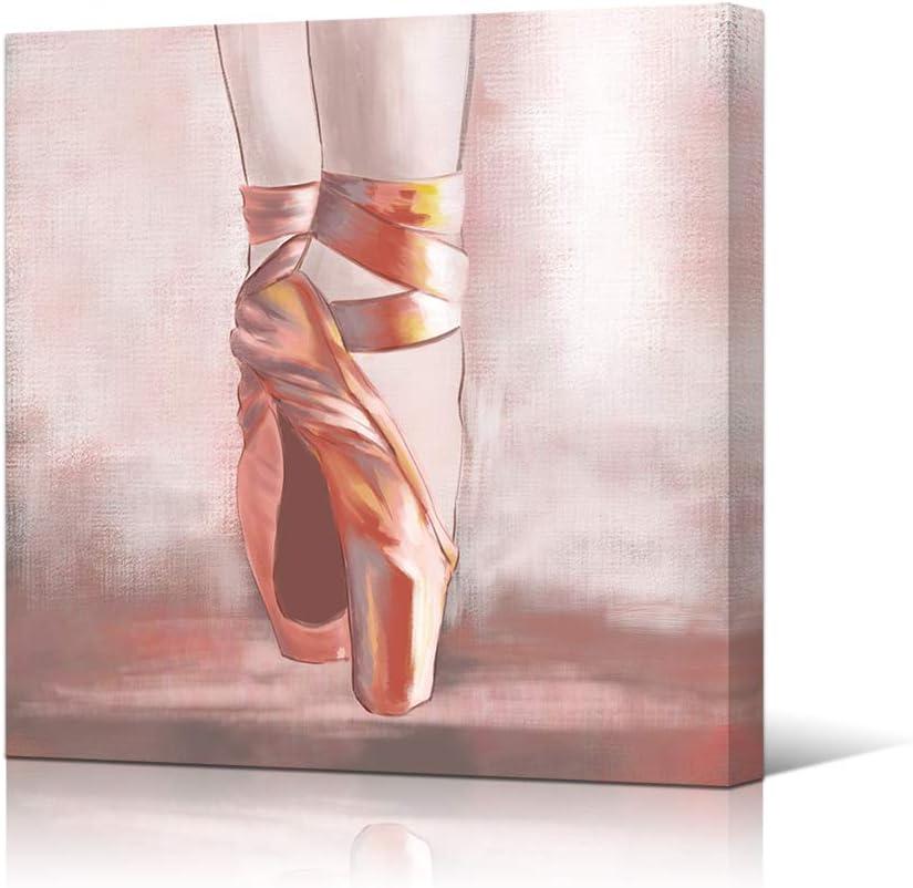 HOMEOART Dancer Wall Art Ballerina Pink Ballet Shoes Painting Picture Canvas Prints Modern Framed Artwork Ready to Hang 24