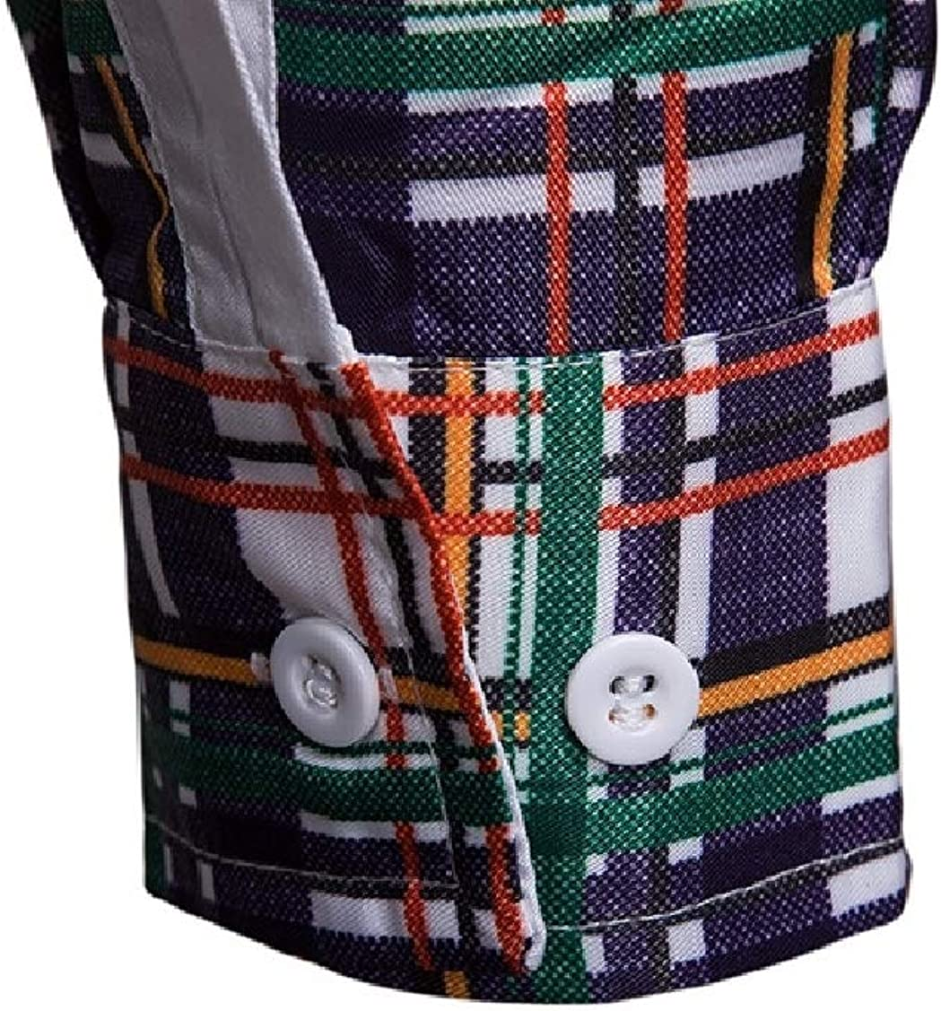 Coolred-Men Plus Size Contrast Color Plaid Mid Long Dress Shirts Top