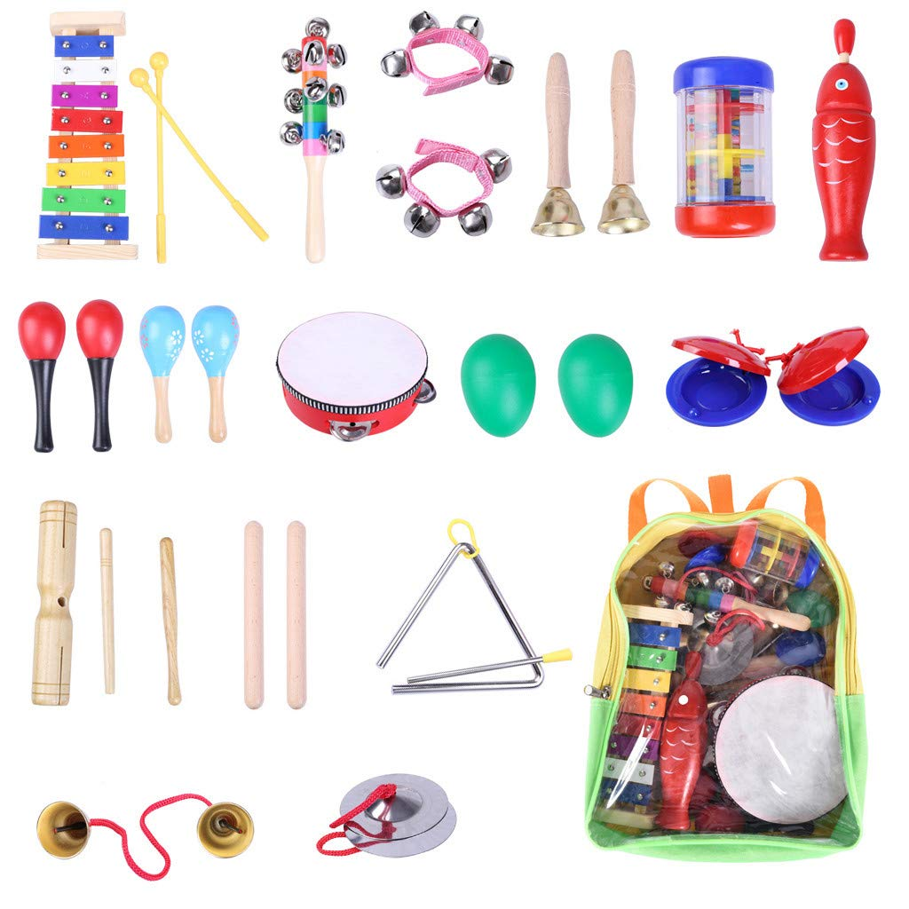 Iusun Musical Instrument Play Toys Set Sand Hammer Rattle Castanets Tambourine Wooden Percussion Childs Early Education Learning Enlightenment Developmental Gift - Ship from USA (A) by Iusun Gift Toys