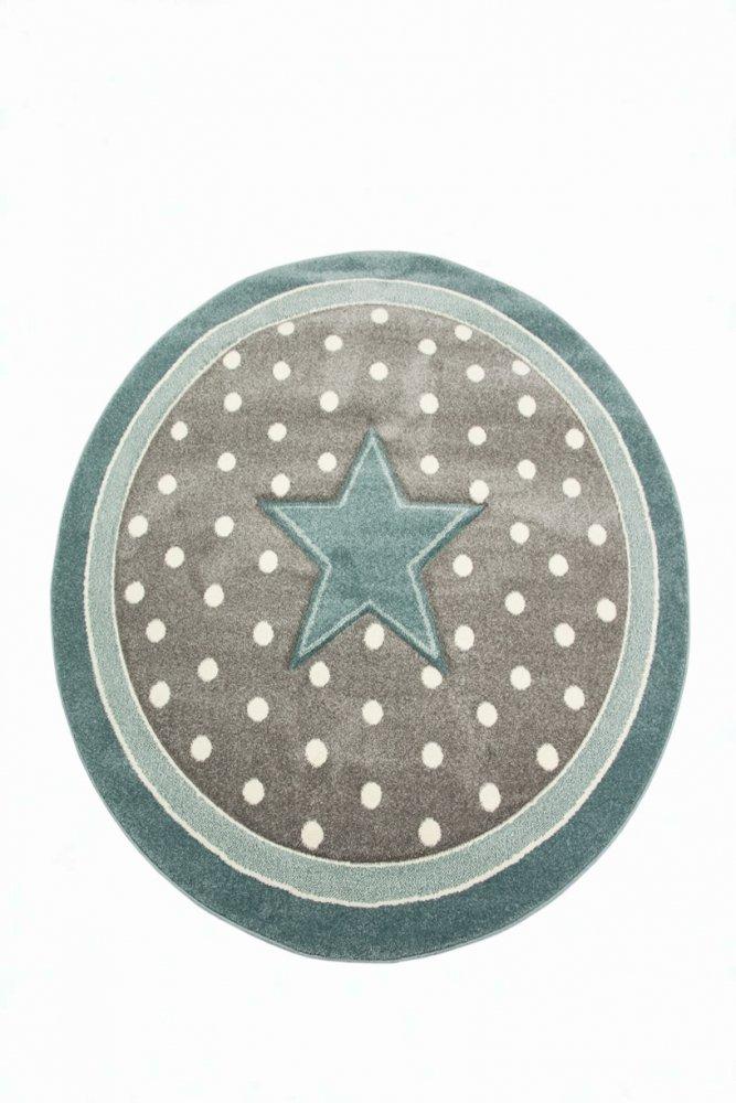 Kinderteppich Kinderzimmerteppich Babyteppich rund Stern in Türkis Grau Weiss Größe 160 cm Rund