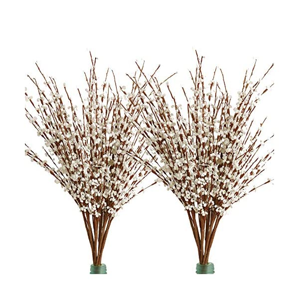 Furnily 20Pcs Fake Flowers Long Winter Jasmine Artificial Fllowers for Christmats Party Wedding Home Decoration(White)