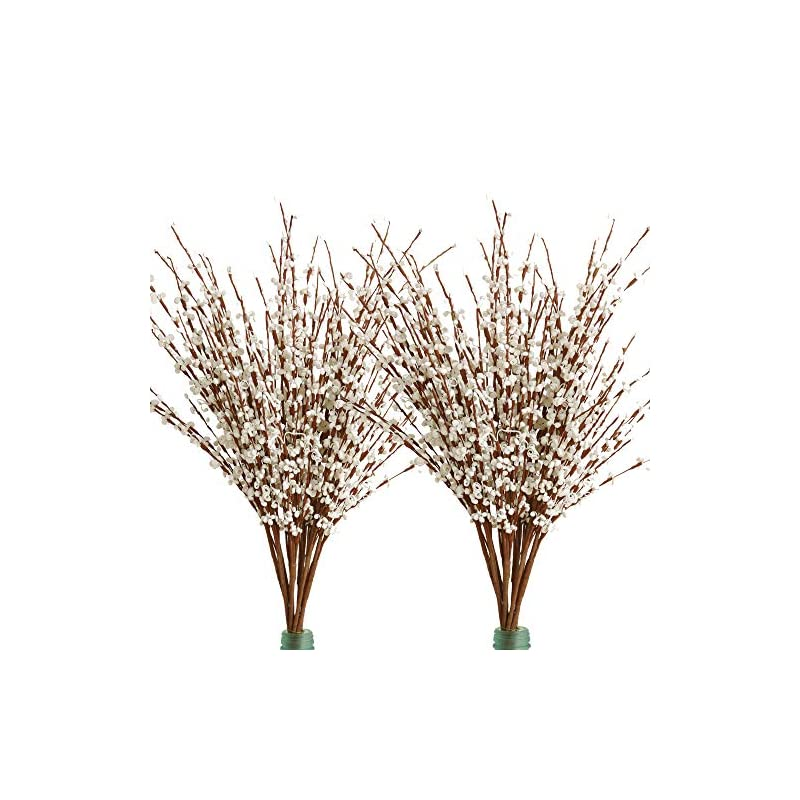 silk flower arrangements furnily 20pcs fake flowers long winter jasmine artificial flowers for yard party wedding home decoration(white)