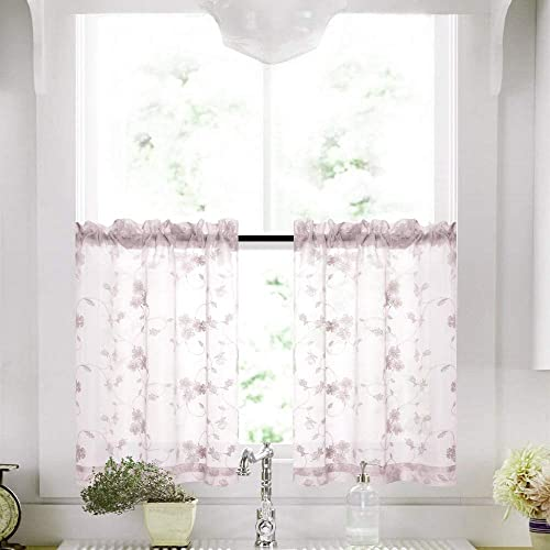 Lilac Tier Sheer Curtains 36 Inch Length Kitchen Curtain Voile Floral Drapery Rod Pocket Top Curtain Panels for Short Basement Window Living Room Bathroom One Pair