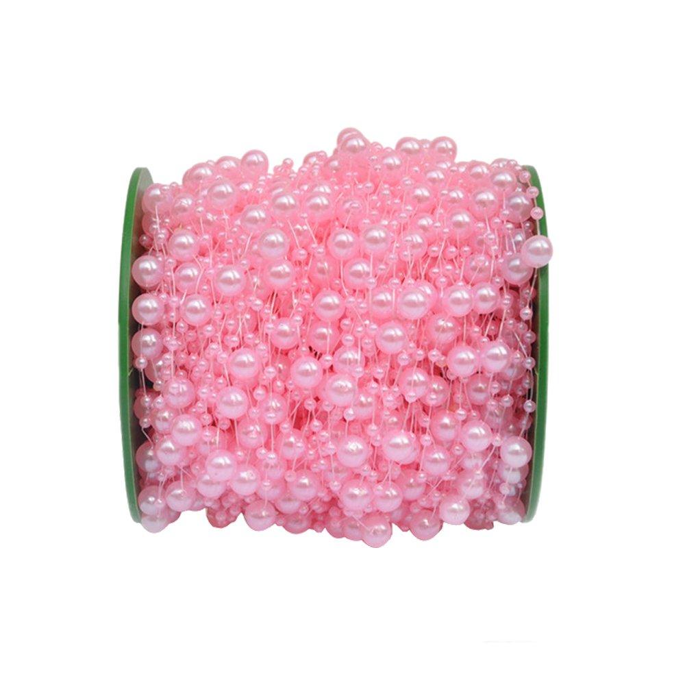 Grace Florist 98 Feet Fishing Line Artificial Pearls Beads Garland Chain for Flower Garland Wedding Decoration & DIY Bridal Bouquet(8+3mm) (White) 4337027873