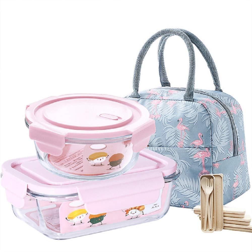 ランチボックスとサーマルバッグスイート2ピースガラス食品ケースファッション弁当箱電子レンジ加熱食品収納ボックス (Color : Pink, Size : L) B07QD5NSPD Pink Large