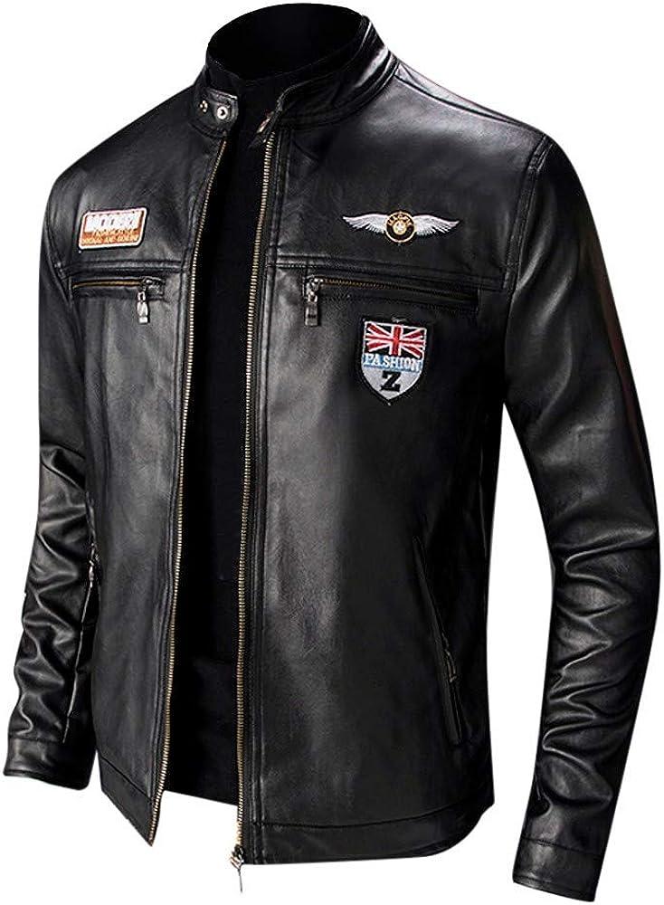 Hombres Chaqueta Moto Invierno Chaqueta Cuero Delgada Moda Manga Larga Gran tamaño Abrigo Casual Jacket con Cremallera Parka Pullover RIOU