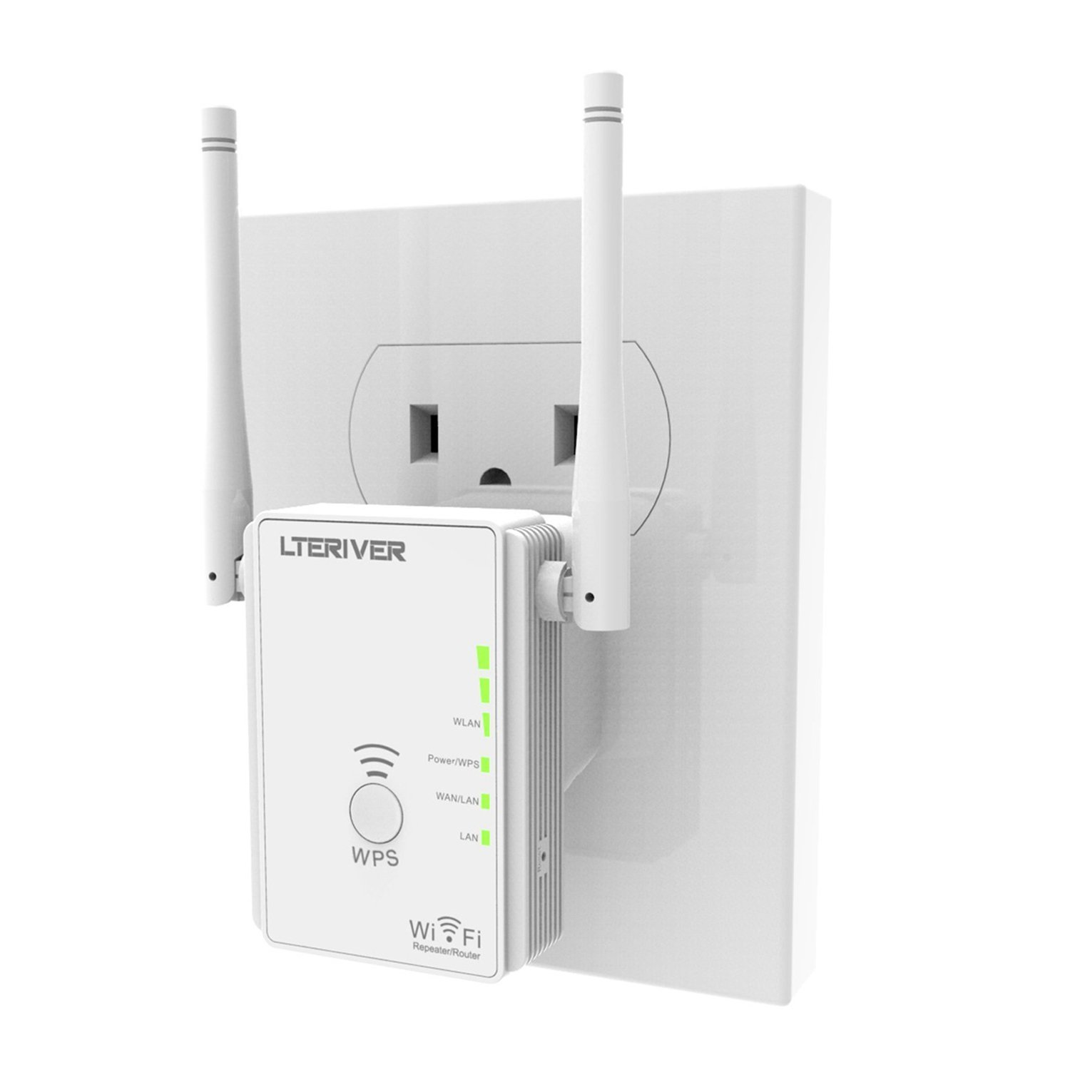 LTERIVER 802.11N 300Mbps WiFi Repeater WiFi Range Extender WiFi Signal Booster Mini Router Wireless Access Point With Two External WiFi Antenna &Power Management(E300)
