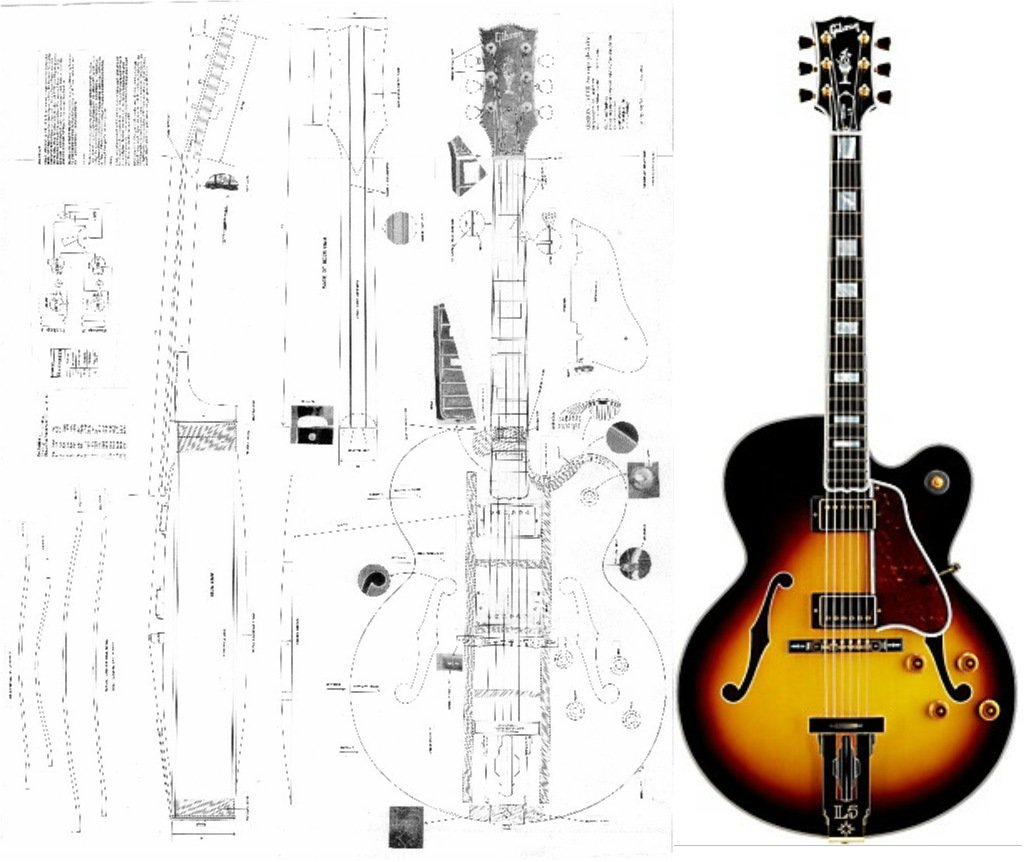 Gibson L-5 CES Archtop Electric Guitar Plans - Full Scale Design Drawings Plans - Actual Size guitarplansman