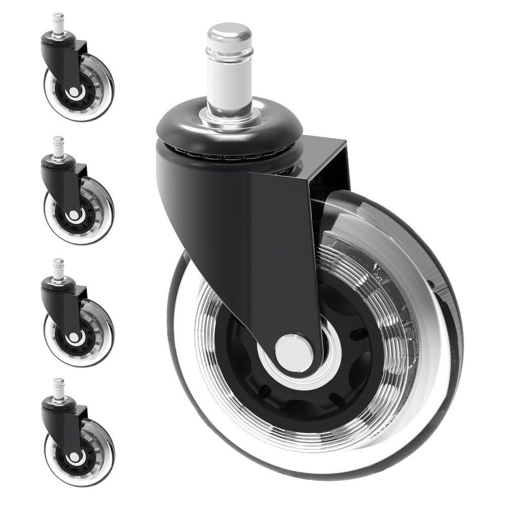 Herrman Chaise 7, 6 cm Caster de roue de remplacement de protection rigide en sol | 5 pcs Grande Heavy Duty PU Roulette caoutchouc (Caster _ 75 mm)