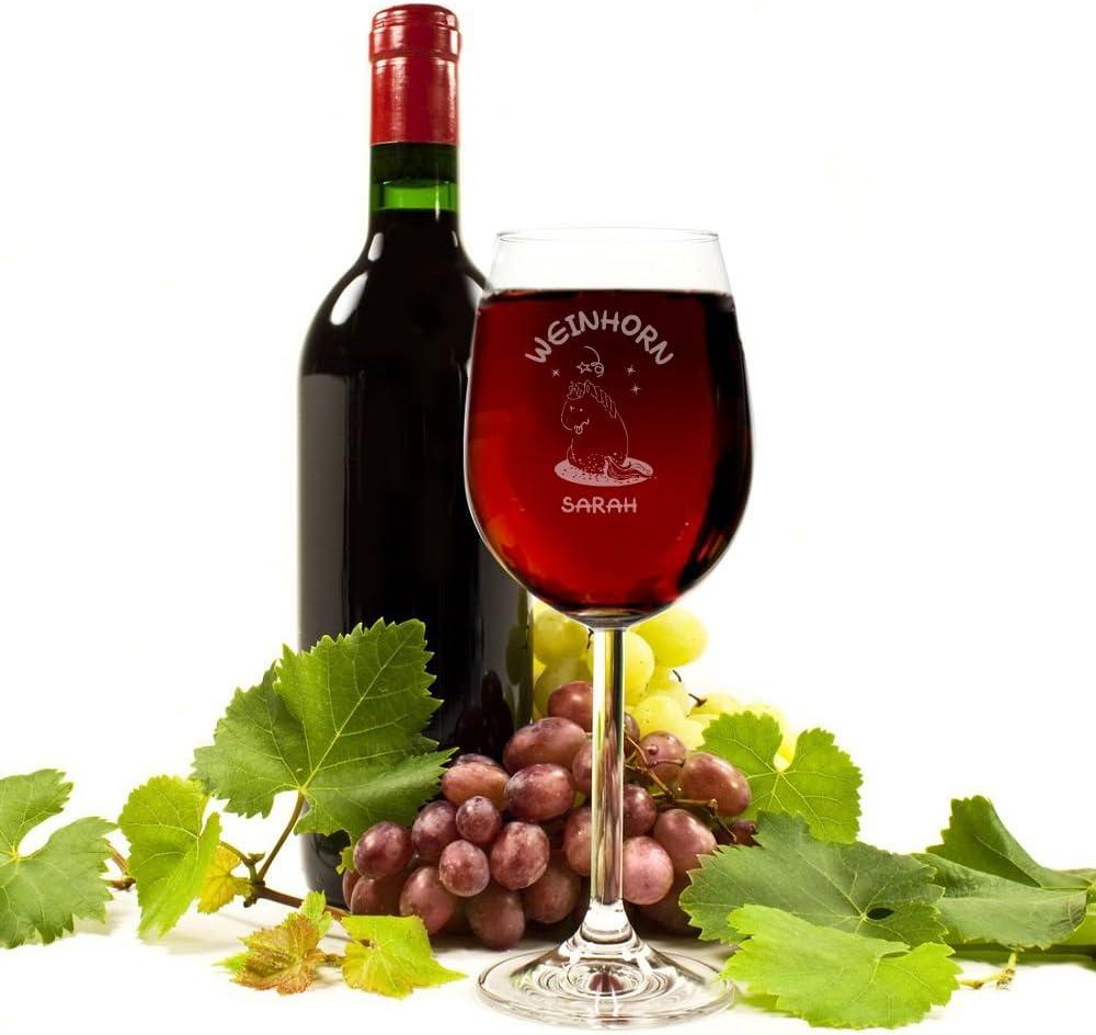 Wein-Liebhaber Unicorn Frau Geschenkidee 4you Design Weinglas Weinhorn Weinglas Einhorn-Liebhaber Freundin mit Personalisierung mit Geschenkbox