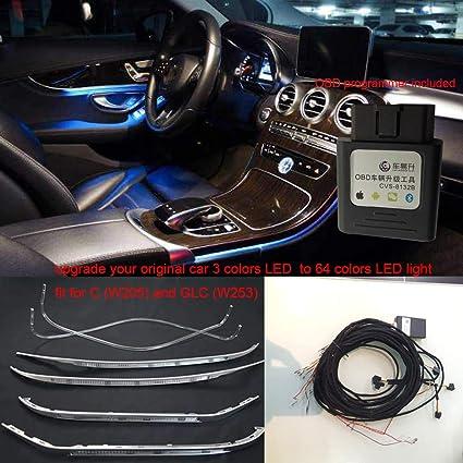 Car interior 64colors LED ambient light door panel central control console  light for Mercedes-Benz C Class W205 C180,C200 C300 (C