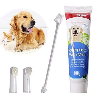 knowledgi Kit de Limpieza de Dientes para Perro Gato Kit de Cepillo de Dientes para Mascotas Limpiador de Dientes Dental Perro y 2 Desdos Herramienta ...