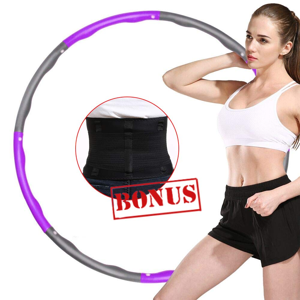 ABDQPC Fitness Exercise Weighted Hula Hoop, 8 Stitching Fitness Equipment with Waist Trainer Belt Hoop (PurpleGray) by ABDQPC