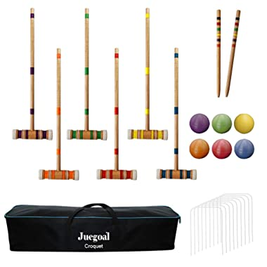 Juegoal Six Player Croquet Set with Carrying Bag, 26 Inch
