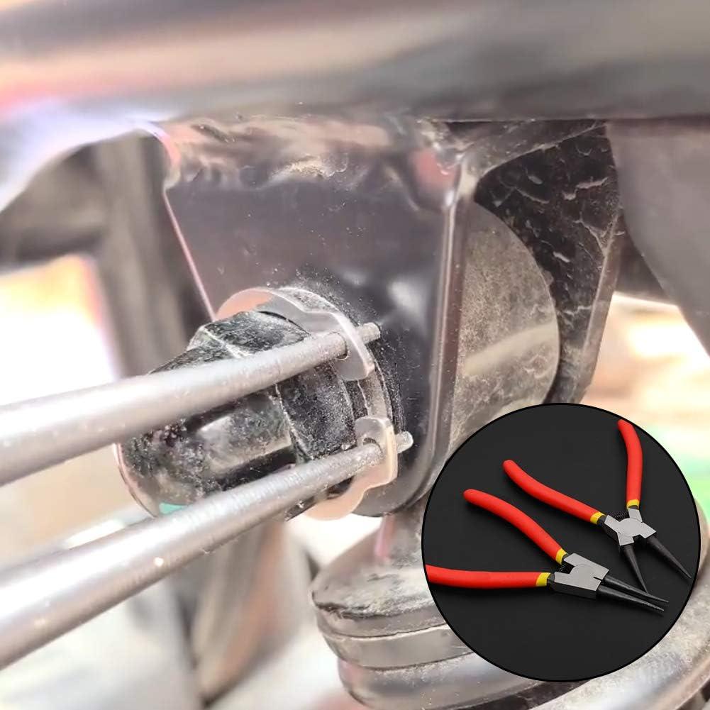 Pince de circlips de pr/écision Taille Unique Voir Image Almabner Lot de 4 Mini Pinces /à circlips externes//internes avec m/âchoire Droite//courb/ée pour Retrait de bagues