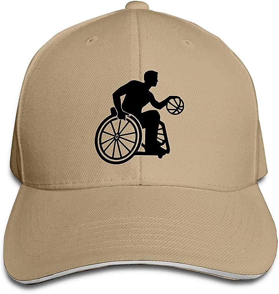 Dale Hill Gorra de béisbol Unisex Silla de Ruedas Baloncesto Algodón Sombrero Plano Ajustable Moda Deportes y al Aire Libre Gorras
