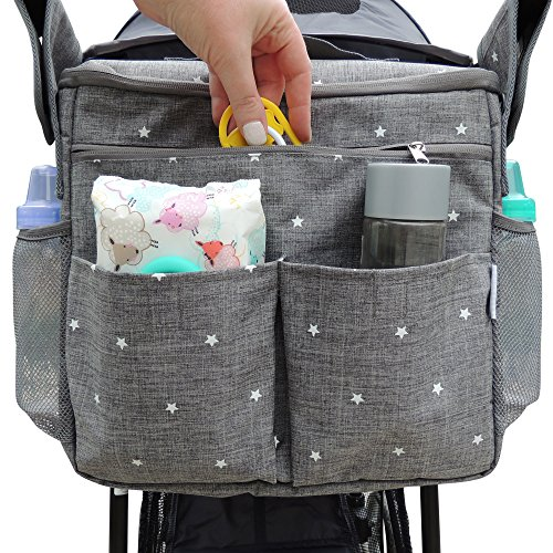 Parents Stroller Organizer Bag - Fits All Baby Stroller Models. Travel Bag with Shoulder Strap for Carrying Bottles, Diapers, Toys & Snacks. Insulated Cooling System, Cup Holder & Storage Pockets (Insulated Stroller Organizer)