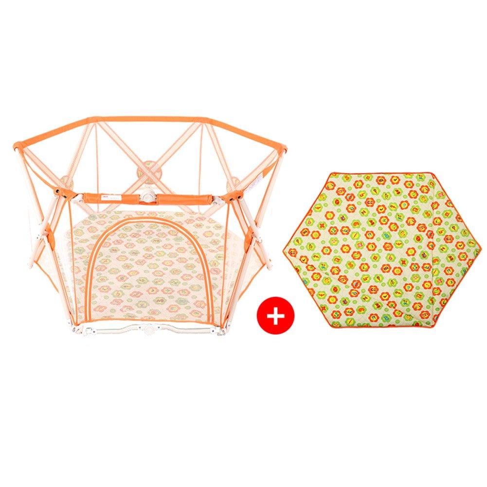 子供のためのPlaymatで折り畳まれた赤ちゃんのプレイペンプラスチック6パネル屋内屋外ガーデン安全活動エリア (色 : Orange)  Orange B07FJPL852