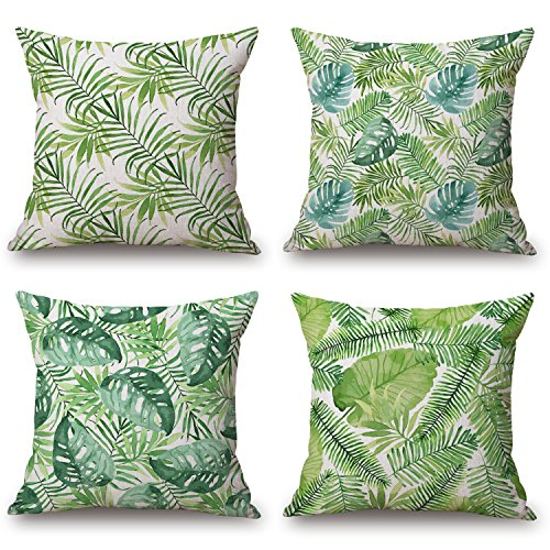 Price comparison product image BLUETTEK Modern Simple Green Summer Style Cotton & Linen Burlap Square Throw Pillow Covers, 18 x 18 Inches, Set of 4 (Green Leaves)