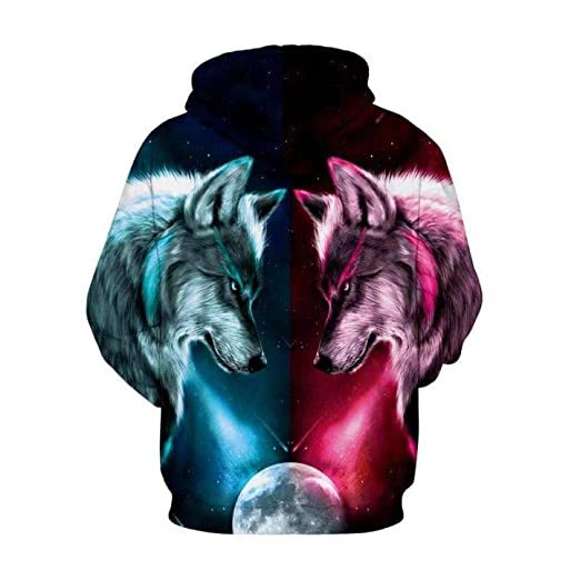 Suéter para Hombres Capucha con Estampado de Lobo en 3D Uniforme ...