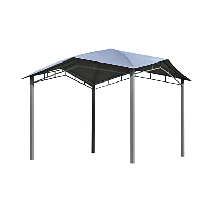 10Feet Gazebo Sun Shelter Gray Polyester Fabric Canopy Outdoor Patio Yard Sunshade Tent Metal Frame with Ebook : Garden & Outdoor