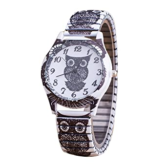 joyliveCY Women Steel Watch Vintage Casual Watch Skull Peacock Owl Watch Female Dress Wristwatch